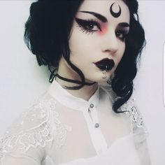 Shop this look bb! Eyeshadow: Eyeliner: (Perfect for drawing moons on yer forehead! Witchy Makeup, Goth Makeup, Makeup Art, Beauty Makeup, Makeup Ideas, Makeup Geek, Dark Fairy Makeup, 70s Makeup, Makeup Style