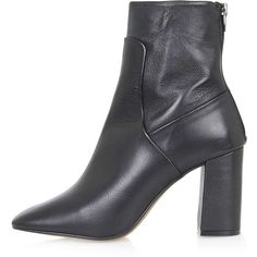 TopShop Majesty Ankle Boots ($64) ❤ liked on Polyvore featuring shoes, boots, ankle booties, topshop, black, short leather boots, black leather bootie, black boots, black booties and high heel ankle boots