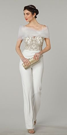 Jumpsuit with embroidered bodice by Tony Ward / http://www.deerpearlflowers.com/wedding-pantsuits-and-jumpsuits-for-brides/