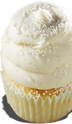 Cupcakes - Wedding Cake: White cake topped with a vanilla buttercream frosting (the best you will ever taste) and sprinkled with white nonpareils. Gourmet Cupcakes, Gigi's Cupcakes, Wedding Cakes With Cupcakes, Baking Cupcakes, Yummy Cupcakes, Cupcake Recipes, Cake Cookies, Cupcake Cakes, Dessert Recipes