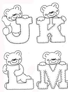 sweet little alphabet bears. Coloring Letters, Alphabet Coloring Pages, Colouring Pages, Coloring Books, Felt Patterns, Applique Patterns, Applique Designs, Embroidery Alphabet, Baby Embroidery
