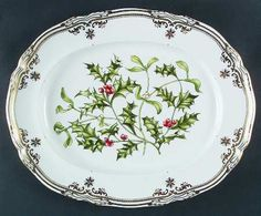 "K--Spode Stafford Flowers Holiday 14"" Oval Serving Platter"