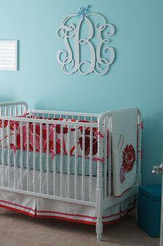 see i knew aqua walls would be pretty with this bedding! Love the Monogram above bed! Aqua Nursery, Girl Nursery, Nursery Decor, Nursery Ideas, Turquoise Bedding, Aqua Walls, Nursery Inspiration, Colorful Decor, Bebe