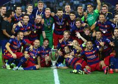 Barcelona Pose With The UEFA Cup Trophy After Victory In Super Between And Sevilla FC At Dinamo Arena On August 2015 Tbilisi