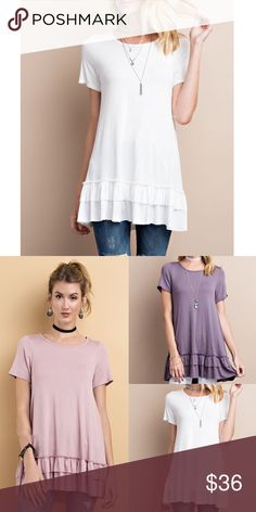 🆕ISABELLA loose fit ruffle tunic top - OFF WHITE Super comfy, loose fit, round neck short sleeve ruffle tunic top.  95% rayon, 5% spandex  AVAILABLE IN DUSTY MUAVE, LIGHT PURPLE, OFF WHITE  🚨🚨NO TRADE, PRICE FIRM🚨🚨 Bellanblue Tops