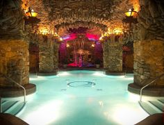 Cheers! This swanky pool grotto features an electric lounge area for swimmers looking for a little on-land refreshment.