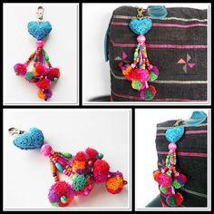 Blue Heart Hanging Key chain with Pom Poms Zip Pull, Bag Accessory | GoldenWorld - Accessories on ArtFire