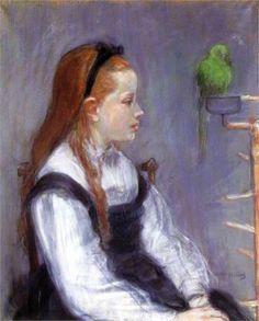 Young Girl with a Parrot  -    Artist: Berthe Morisot  -    Completion Date: c.1873  -    Style: Impressionism  -    Genre: portrait  -    Technique: pastel