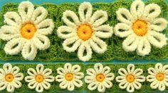 Como tejer a Crochet flores margaritas en punto tunecino blusas chalecos...