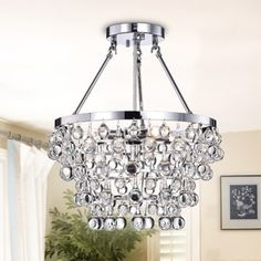 Shop for Ivana Chrome Luxury Crystal Chandelier. Get free delivery On EVERYTHING* Overstock - Your Online Ceiling Lighting Store! Get in rewards with Club O! Track Lighting Fixtures, Cool Lighting, Light Fixtures, Master Bedroom Chandelier, Bedroom Chandeliers, Online Lighting Stores, Chandelier Ceiling Lights, Hanging Pendants, Glass Domes