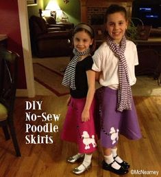 Sewing Skirts obSEUSSed: Make a No-Sew Poodle Skirt. Maybe for Hallie's Halloween costume this year? Kids Poodle Skirt, Poodle Skirt Costume, 50s Costume, Hippie Costume, Poodle Skirts, Costume Ideas, 1950 Costumes, Sock Hop Outfits, 50s Outfits