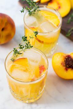 Peach Gin Fizz Cocktails