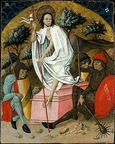 The Resurrection, mid-fifteenth century, Spanish (Aragonese) Painter; Christ holds a banner, symbol of the Resurrection. (Metropolitan Museum of Art)