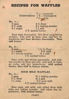 Food Discover Vintage Recipe Cards for waffles Retro Recipes Old Recipes Vintage Recipes Brunch Recipes Cooking Recipes Light Recipes Breakfast Desayunos Breakfast Dishes Breakfast Recipes Retro Recipes, Old Recipes, Brunch Recipes, Cooking Recipes, Light Recipes, Cooking Tips, Crepe Recipes, Family Recipes, Food Tips