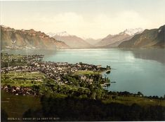Hahnemuhle PHOTO RAG Fine Art Paper (other products available) - Vevey, and Dent du Midi, Geneva Lake, Switzerland. 1890 and ca. Date: - Image supplied by Mary Evans Prints Online - Fine Art Print on Paper made in the UK Vevey, Fine Art Prints, Canvas Prints, Geneva Switzerland, World Images, Historical Images, Online Images, Wonderful Images, Photo Mugs
