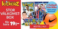 Stabenfeldt: Kickerz - Big welcome box + Nike football for 19 kr Nike Football, Frosted Flakes, Welcome, Big, Cards, Maps, Playing Cards
