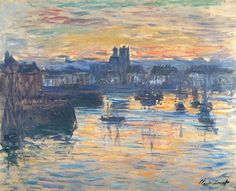 "artwork: Claude Monet - ""Port of Dieppe, Evening"", 1882 - Oil on canvas - Collection of the Dixon Gallery and Gardens. On view at the Speed Art Museum, Louisville, Kentucky in ""Renoir to Chagall: Paris and the Allure of Color"" until May Claude Monet, Monet Paintings, Landscape Paintings, Abstract Paintings, Contemporary Paintings, Painting Art, Renoir, Monet To Matisse, Henri Matisse"