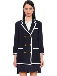 Thom Browne Contrast Tipping Merino Wool Melton Blazer In Navy Wool Felt, Felted Wool, Long Jackets, Thom Browne, Hair Today, Grosgrain, Double Breasted, Merino Wool, Preppy
