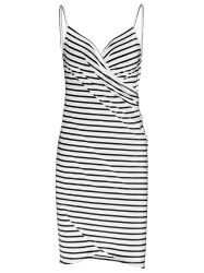 Open Back Striped Cover-ups Dress - WHITE 2XL