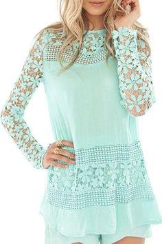 Crochet Flower Spliced Long Sleeves Blouse