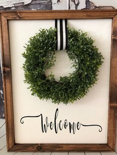 Boxwood Wreath Canvas Farmhouse Sign Crafts For Teens To Make, Crafts To Sell, Diy And Crafts, Wood Crafts, Dollar Store Crafts, Dollar Stores, Boxwood Wreath, Wreaths, Door Wreath