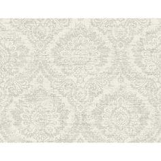 PS41900 - Kauai White Damask Wallpaper - by Kenneth James