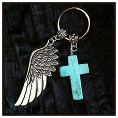 Christian Keychain, Keychain, Cowgirl Keychain, Turquoise Cross and Angel Wing Pendant
