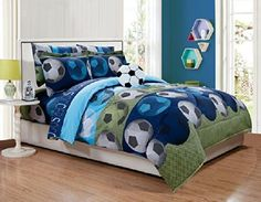 MK Home Mk Collection 3pc Twin Sheet Set Soccer Light Blue Green Navy Blue White Black New