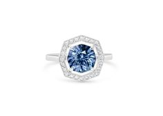 CW BESPOKE Blue/grey Spinel engagement ring in hexagonal setting. #engagementring #cushlawhitingrings