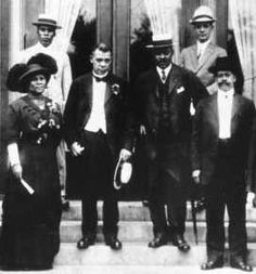 Madam C.J. Walker (left) shown in 1913 along with (left to right) Freeman B. Ransom, Booker T. Washington, Alexander Manning, Dr. Joseph Ward and C.H. Bullock. (Madam Walker Collection, Ind. Historical Society Library)