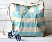 Diaper bag STOCKHOLM Pale Turquoise and Ecru Striped nautical - WATER PROOF lining ten pockets