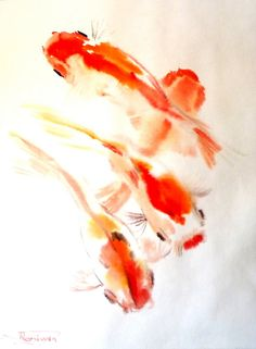 Koi Original large watercolor painting 24 X 18 in by ORIGINALONLY, $180.00