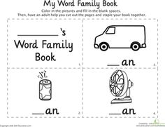"""An"""" Words: My Word Family Book   Worksheet   Education.com"""