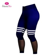 Aliexpress.com   Buy WannaThis 2017 Summer Sexy Fitness Leggings Women Mesh  Sporting Workout Casual Striped Leggins Splice Elastic Waist Pants Skinny  from ... 56cea1184a