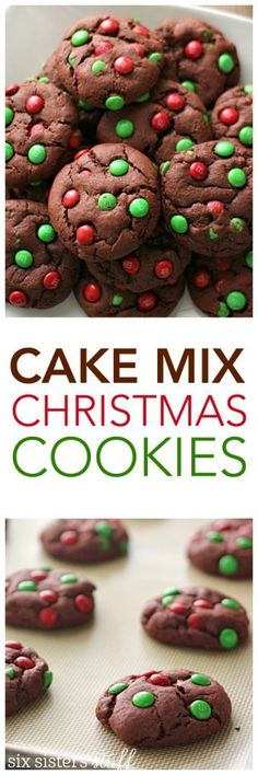Cake Mix Christmas Cookies from SixSistersStuff.com | This dessert recipe is a great one to make with your kids because it is super easy and throws together in a matter of minutes! Makes a great handmade gift for neighbors or quick snack for your next holiday party!