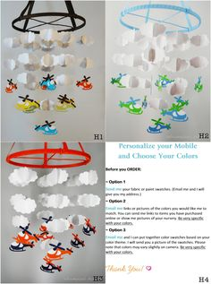 Helicopter and Cloud Mobile Choose your by whimsicalaccents