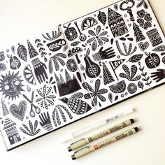 Lisa Congdon loves to draw patterned spreads in her sketchbook. This spread was created with Pigma Micron and Gelly Roll.