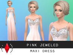 The Sims Resource: Pink Maxi/Prom Dress by SIms 4 Krampus • Sims 4 Downloads