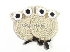 Crochet Coasters Owl Cream  Gifts for Teachers Cute by MariMartin, $20.00