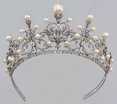 Vintage Pearl & Diamond Tiara
