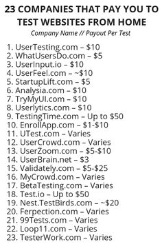 23 Companies That Pay You to Test Websites from Home – Make Money from Home Ways To Earn Money, Earn Money From Home, Earn Money Online, Money Saving Tips, Way To Make Money, Money Hacks, Earning Money, Investing Money, Money Tips