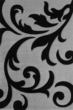Lalee 347134823 Moderner Designer Teppich Muster Ranke Konturenschnitt Silber Schwarz Grsse