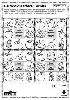 Vamos brincar com o Bingo das Frutas. Imprima, recorte e pinte as cartelas e o dado.  - cmais+ O portal de conteúdo da Cultura
