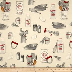 Kiss The Cook Cooking Ingredients Natural from @fabricdotcom  Designed by Mary Lake-Thompson, Ltd. for Robert Kaufman, this cotton print features a cooking and kitchen motif. Perfect for quilting, apparel and home décor accents. Colors include cream, white, grey, black and shades of red.
