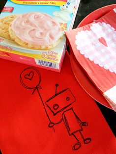 Robot Valentine Red Tea Towel - Robot Love by LindasOtherLife on Etsy