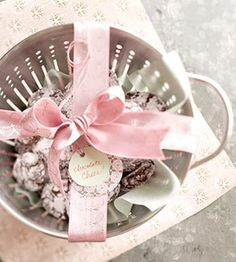 cookies in a colander. gifts.