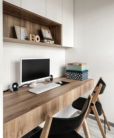 Contemporary Home Office Design Ideas - Search photos of contemporary home offices. Discover ideas for your trendy home office design with ideas for decor, storage as well as furniture. Office Nook, Home Office Space, Home Office Desks, Home Office Furniture, Furniture Design, Small Office, Office Table, Furniture Ideas, Office Shelf