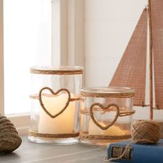 Glass Candle Holder With Rope Heart - room decorations
