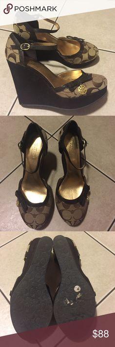 Authentic Coach Wedges Size 6.5 6 1/2 Worn 1x. Excellent Condition. Suede bottoms Coach Shoes Wedges