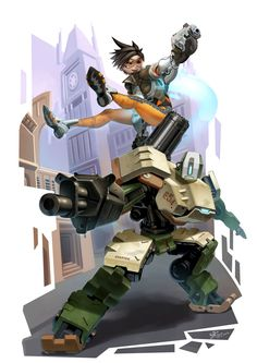 Overwatch by Agustinus, Digital Painting, Illustration, Bastion and Tracer Fan Art, Gaming, Overwatch Fan Art